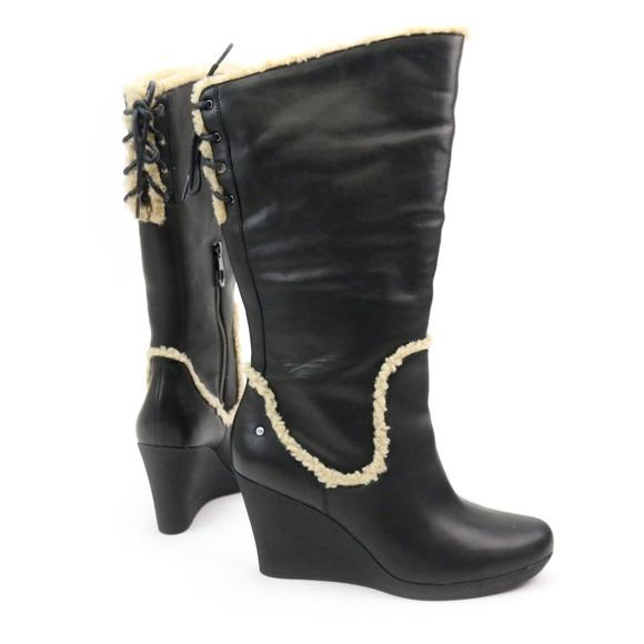 9d58fa2a4ba UGG Emilie Black Leather Sheepskin Wedge Boots NEW Boutique